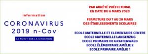 fermeture corrinavirus